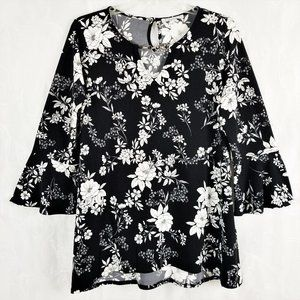 Chaus M 3/4 Sleeve Split V Neck Blk White Floral